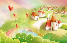 美丽卡通村庄爱心花朵摇曳梦幻粒子洋溢儿童视频素材下载