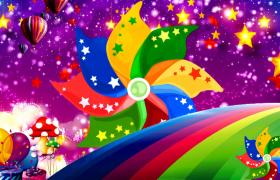 梦幻卡通粒子星空彩色风车旋转儿童动画视频素材