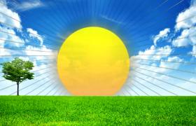 草坪蓝天清新背景太阳光芒万丈卡通动画MOV儿童视频素材
