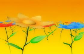 卡通花朵繽紛綻開立體畫面呈現HD兒童歡慶視頻背景