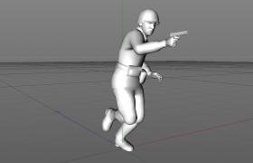 手持短型手槍肆意向前奔跑的高級士官人物角色C4D模型展示