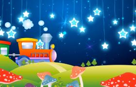 闪烁星环夜空悬挂可爱火车山坡行驶MOV儿童卡通视频素材