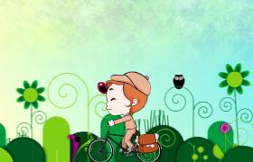 可爱邮差骑单车送信儿童动画视频背景
