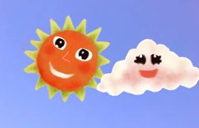 太阳云朵笑脸盈盈趣味故事演绎儿童卡通视频素材
