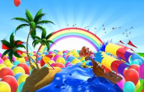 气球彩虹漂浮3D地球自然景点翻转出现MP4儿童动画视频素材