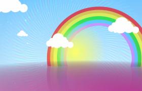 六一儿童节七色彩虹云朵移动洁白粒子冲击儿童视频素材下载
