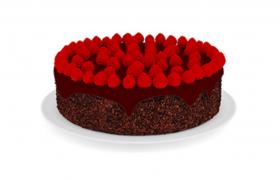 草莓巧克力芝士唯美七夕情人節表白蛋糕C4D模型