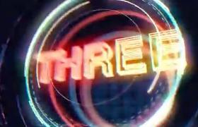 英文TEN倒計時霓虹燈縮放發光環新年片頭AE模板