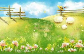山坡鲜野草遍地蝴蝶花丛采蜜卡通动画视频素材