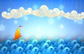 闪亮星星白云悬挂帆船蓝海行驶趣味卡通HD视频素材
