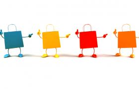 彩色拟人购物带跳舞可爱趣味卡通视频素材