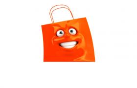 可爱表情购物带白色背景活力跳跃MOV趣味动画视频素材