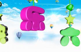 卡通热气球云端漂浮炫彩标题立体动态悬挂儿童节视频素材