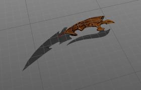 木质手柄飞刀C4D模型