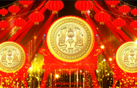 金色粒子上升红色绸带灯笼飘舞鼠年金色标志展示动态新春视频素材