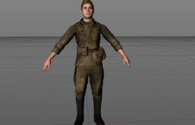 斯大林格勒战役身穿布艺装备的前苏联士官人物角色C4D模型