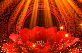红色牡丹旋转星光粒子闪烁舞台灯光照耀唯美LED背景视频素材