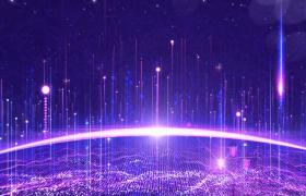 大氣紫色粒子波紋上升城市科技數據發展動態演示背景視頻素材