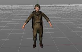 穿戴頭盔的蘇聯醫療士兵C4D模型(含材質貼圖)