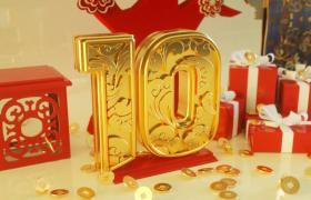 黃金銅板散落十秒三維數字逐步展示金色喜慶新春開場動畫視頻素材