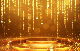 鎏金粒子飘过舞台灯光旋转唯美大气新春颁奖典礼视频背景视频素材