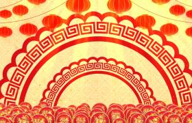中国风喜庆粒子上升剪纸圆环灯笼旋转动态新春背景视频素材
