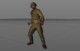 预备投掷手榴弹的前苏联士兵C4D模型(vray渲染)