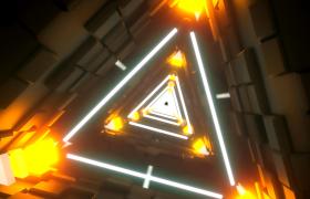 科技三角形隧道循環遠離轉動穿梭后撤酷炫演繹VJ視頻素材