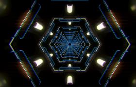 正六边形空间隧道灯光闪烁缓慢穿梭前进唯美三维视效VJ视频素材