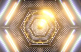 金属灯丝点亮六边形隧道循环前进穿梭动感VJ视频素材