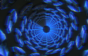 酷炫空間隧道旋轉前進燈管閃爍藍色經典夢幻VJ視頻素材
