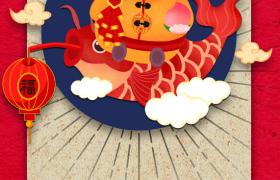 创意卡通封面胖鼠锦鲤可爱图案新年海报背景ps下载