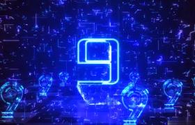 企业年会倒计时三维蓝色数据粒子摩擦勾边AE模板