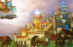 梦幻童话城堡奇幻卡通飞船飞翔儿童欢庆视频背景