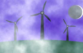白霧迷蒙月牙夜空懸掛風車旋轉MOV卡通兒童視頻背景