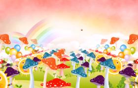 蝴蝶飛舞彩虹浮現蘑菇氣球兒童歡慶舞臺背景視頻