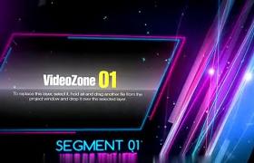 紫色粒子空間照片活動啟動舞臺片頭AE模板