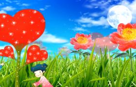 歡樂小女孩澆水愛心花朵生長兒童卡通視頻背景