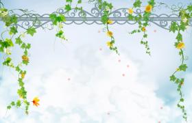 夢幻云端背景花藤門簾裝飾花朵唯美飄落卡通清新背景視頻
