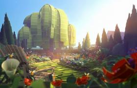 花朵樹木瞬間生長蜜蜂群花叢采蜜MOV卡通動畫視頻素材