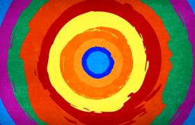 藝術水彩圓環循環溢出HD卡通動畫背景視頻