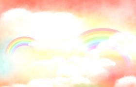 迷幻云端遨游卡通彩虹頻頻浮現兒童動態視頻素材