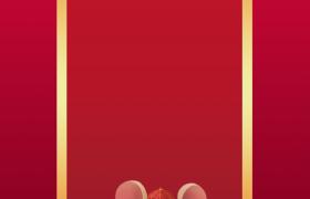 卷軸標題框設計祥云燈籠裝點吉祥福鼠拜年鼠年海報背景素材