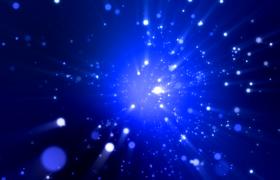 藍色光斑粒子空間閃爍遠離靜謐空間渲染唯美舞臺背景視頻素材