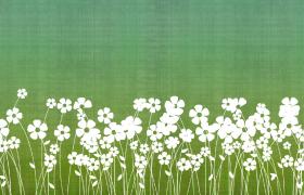 綠色質感背景花叢搖曳剪影清新卡通動態視頻背景