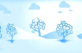 清新雪山背景卡通樹木生長晶瑩雪花飄舞HD動畫視頻背景