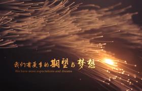 企業年會開場金色文字動畫2019頂級粒子線條煙花綻放聚集AE模板