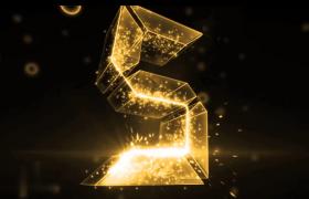 震撼年會倒計時地球粒子光束文字字幕片頭展示AE模板