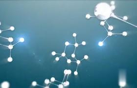 干凈藍色粒子背景分子結構聚集揭示標志展示AE模板