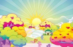 炫彩卡通森林太陽天邊升起動物歡樂嬉戲兒童歡慶視頻背景